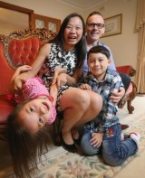 ALP Senate candidate Jennifer Yang with her children Lauren and Isaac and husband Robert Turney.