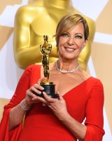 Allison Janney, winner of the award for best performance by an actress in a supporting role for <i>I, Tonya</i>, poses in the press room.