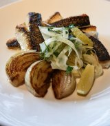 Grilled rock flathead fillets with fennel and orange salad at Rockpool