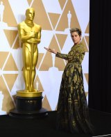 Frances McDormand, winner of the Oscar for best performance by an actress in a leading role for <i>Three Billboards Outside Ebbing, Missouri</i>, poses in the press room.