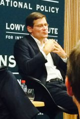 Former CIA deputy director Michael Morell speaks at the Lowy Institute on Tuesday evening.