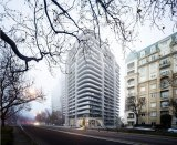 The Zaha Hadid tower is in a prime location on the St Kilda Road boulevard.
