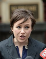 Maurice Blackburn lawyer Elizabeth O'Shea outside court on Wednesday.