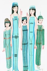 Three traditional ink paintings by Hong Kong artist Wilson Shieh reimagine the city's famous high-rise buildings as slender women. The works feature in Ink Remix at the Canberra Museum and Gallery.