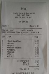 Lunch receipt from Movida.
