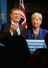 Outgoing Victorian Premier Denis Napthine concedes defeat with wife Peggy at his side.