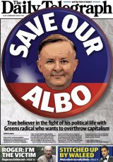 The Daily Telegraph's May 11 front page featuring Anthony Albanese.
