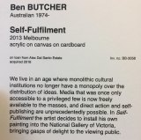 The artist's statement by Ben Butcher, who put his own art work on the wall at the National Gallery of Victoria.