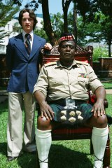 James McAvoy with Forest Whitaker in <i>The Last King of Scotland</i>.