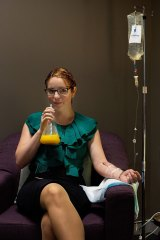 Alison Carole sampled the Hangover Clinic's intravenous hangover treatment after an office Christmas party the night before.