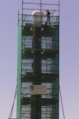 Scaffolding errected around the matchstick sculpture for repairs.