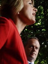 Labor candidate Kristina Keneally with Opposition Leader Bill Shorten.