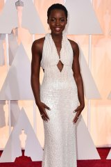 Lupita Nyong'o's full length pearl dress has been stolen.
