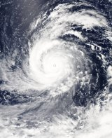 Soudelor snapped from space as it reaches category 5 strength.