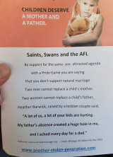 Leaflets left on cars outside the Sandringham v Footscray game last weekend.