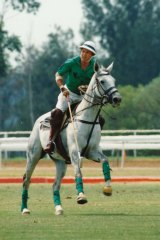 John Kahlbetzer, Senior, playing at family polo in 1993.