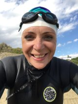 Susan Berg is using the swim to raise funds for a domestic violence shelter, after becoming a survivor of family abuse.
