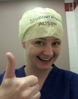 Student midwife Alison Brindle gifted Dr Hackett's intervention with the hash tag #TheatreCapChallenge.