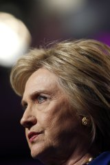 Hillary Clinton pausing while speaking.