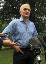 Follow our lead: Australian Prime Minister Malcolm Turnbull speaks to the media in Central Park, New York.