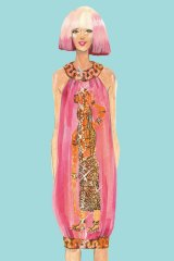 An illustration of a dress by Australia's Easton Pearson from the book <i>One Enchanted Evening</I>.