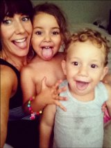 Sally Faulker with her children, Lahela and Noah.
