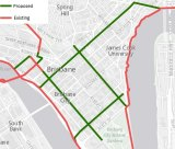 The Greens' plan for segregated bikeways in the Brisbane CBD.