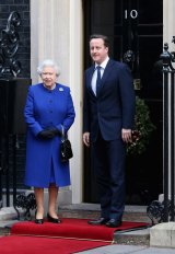 The Queen and David Cameron in front of the new No. 10 Downing Street.