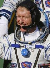 British astronaut Tim Peake gestures prior to the launch.