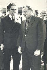 Kep Enderby, left, and Jim Cairns as ministers in the Whitlam government.