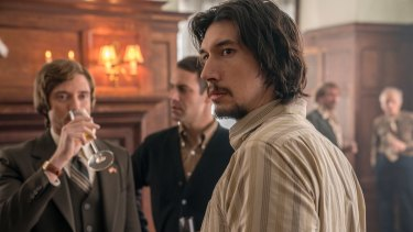 Topher Grace, left, and Adam Driver, right, in a scene from BlacKkKlansman.