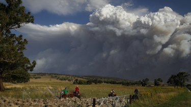 Livestock was relocated from a property near Coolah, as smoke from the Sir Ivan fire east of Dunedoo loomed.