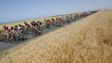The pack rides along the English Channel on France's Normandy west coast during the 191.5-kilometre sixth stage.