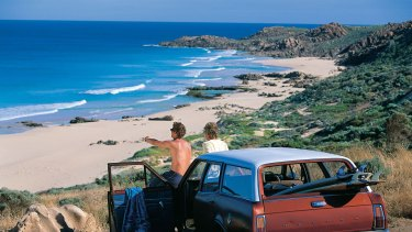 Surfers checking out the surf breaks near Margaret River, WA.