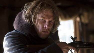 Domhnall Gleeson as Captain Andrew Henry in <i>The Revenant</i>. Gleeson says the cast told jokes to help cope with the extreme conditions faced during filming.