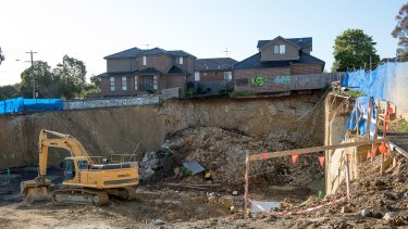 The Mount Waverley site after a further collapse on Thursday morning.