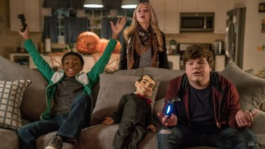 Caleel Harris, Madison Iseman, Slappy and Jeremy Ray Taylor in Columbia Pictures' Goosebumps 2 Haunted Halloween.