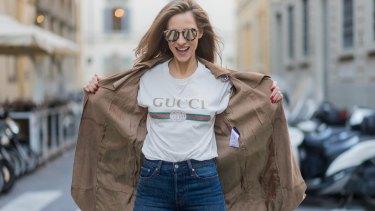 German model and blogger Alexandra Lapp rocks the Gucci T-shirt.