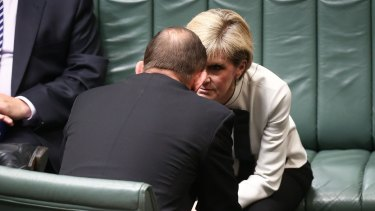 Prime Minister Tony Abbott and Foreign Affairs Minister Julie Bishop in discussion.