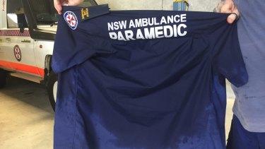 A NSW ambulance work shirt soaked with sweat.