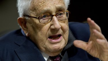 Former US secretary of state Henry Kissinger speaks during a Senate Armed Services Committee hearing in Washington.