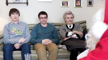 Jonny (Tom Rosenthal), Adam (Simon Bird), Horrible Grandma (Rosalind Knight) & Jim (Mark Heap) Friday Night Dinner, Christmas Special