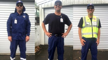 The full NSW Ambulance uniform (left), under-shirt (centre) and uniform the APA recommended its members to wear (right).