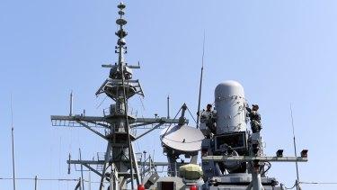Part of the HMAS Hobart's sensor array.