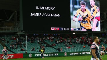 Players and spectators observed a minute's silence for James Ackerman at the NRL game at Allianz Stadium on Monday night.
