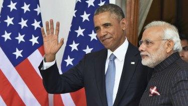 New friends: Barack Obama and Narendra Modi hold talks in India.