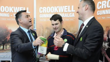 Member for Monaro John Barilaro and ACT Chief Minister Andrew Barr, along with Crookwell sock manufacturer Andrew Lindner, launch the Canberra Region network in Queanbeyan.