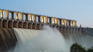 The Hume Dam spillway in action.