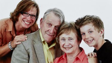 Part of the family: Rosie with her father, Geoff, stepmother, Josephine, and Luke, in 2012.