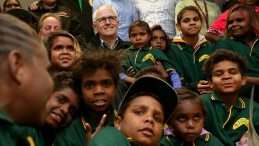 Malcolm Turnbull with students during a visit to the Yalata Anangu School in South Australia.
